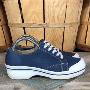 Dansko Veda Vegan Blue Canvas Sneaker Clogs